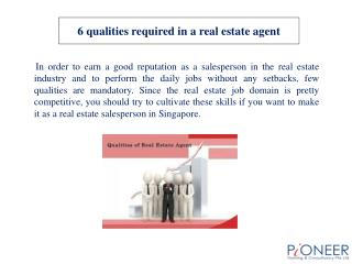 6 qualities required in a real estate agent