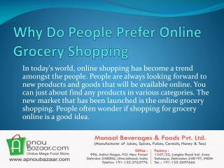 Why Do People Prefer Online Grocery Shopping