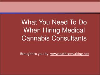 What You Need To Do When Hiring Medical Cannabis Consultants