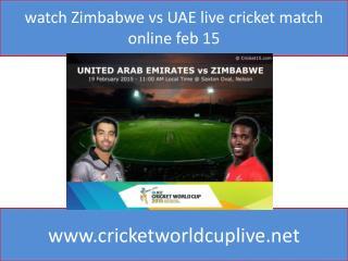 watch Zimbabwe vs UAE live cricket match online feb 15