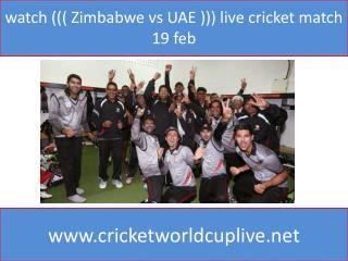 watch ((( Zimbabwe vs UAE ))) live cricket match 19 feb