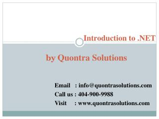 .NET Introduction by QuontraSolutions