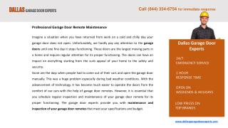 Garage Door Remote Repair Services Dallas