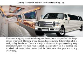 Getting Married Checklist for Your Wedding Day