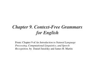 Chapter 9. Context-Free Grammars  for English