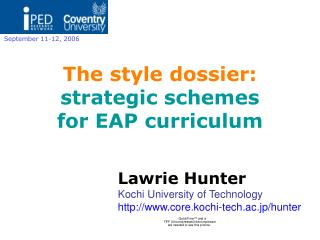 The style dossier: strategic schemes  for EAP curriculum