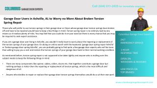 Garage Door Users not to Worry  About Broken Torsion Spring