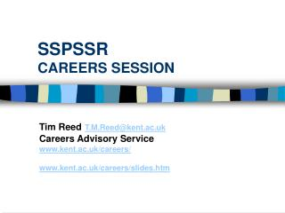 SSPSSR CAREERS SESSION