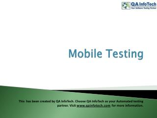 What is Mobile Testing?
