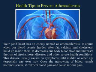 Health Tips to Prevent Atherosclerosis