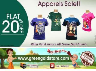 Chota Bheem T shirts Discount   Green Gold
