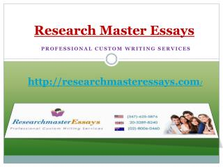 Top 4 writing services offered by Research Master Essays