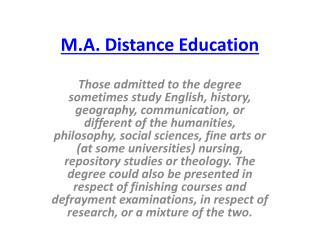 M.A. Distance Education