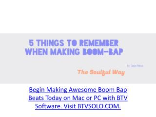 Music creator - 5 things to remember when making Boom-Bap