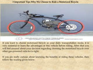 3 Important Tips Why We Choose To Ride a Motorized Bicycle