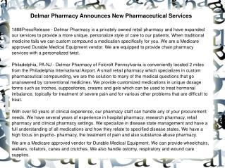 Delmar Pharmacy Announces New Pharmaceutical Services