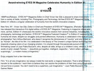 Award-winning EYES IN Magazine Celebrates Humanity