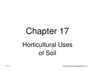 Horticultural Uses  of Soil