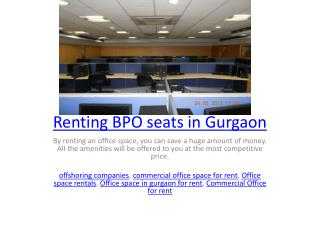 Renting BPO seats in Gurgaon