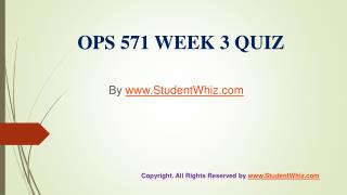 OPS 571 Week 3 Quiz Answers