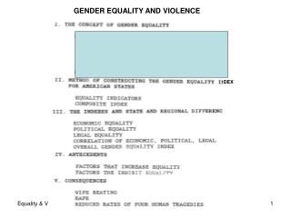 GENDER EQUALITY AND VIOLENCE