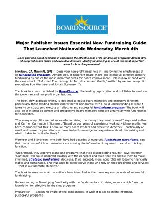 Major Publisher issues Essential New Fundraising Guide