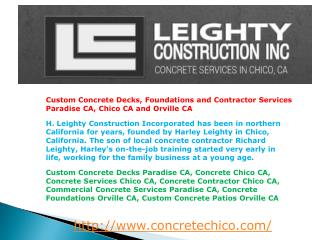 Custom Concrete Decks, Foundations and Contractor Services P