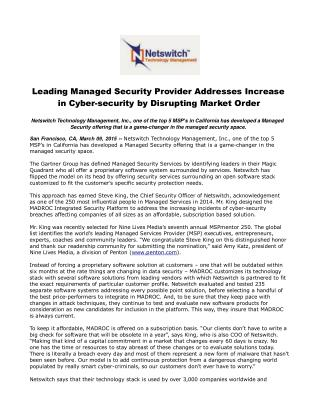 Leading Managed Security Provider Addresses Increase in Cybe