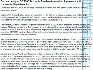 Corcentric signs COR360 Accounts Payable Automation