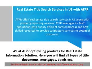 Real Estate Title Search Services in US with ATPR