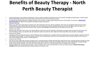 North Perth Beauty Therapist