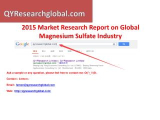 2015 Deep Research Report on Global Magnesium Sulfate Indust