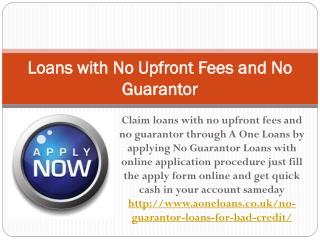 Loans with No Upfront Fees and No Guarantor