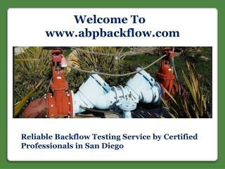 Reliable Backflow Testing Service
