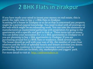 2 BHK Flats in zirakpur