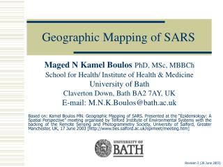 Geographic Mapping of SARS