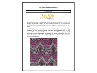 Dress Fabrics – Choose Suitable Fabrics