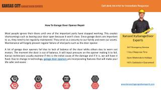 How To Garage Door Opener Repair