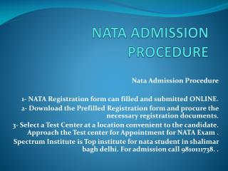 NATA ADMISSION PROCEDURE