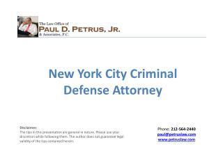 New York City Criminal Defense Attorney