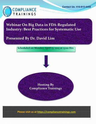Webinar On Big Data in FDA Regulated Industry Best Practice