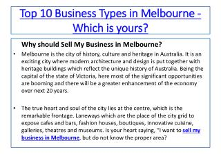 Melbourne City - A Hub to Sell Your Business