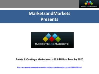 Paints & Coatings Market worth $181.3 Million by 2020