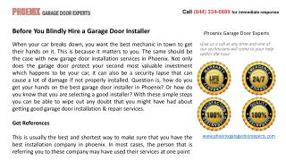 Before You Blindly Hire a Garage Door Installer