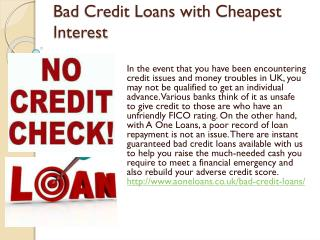 Bad Credit Loans with Cheapest Interest