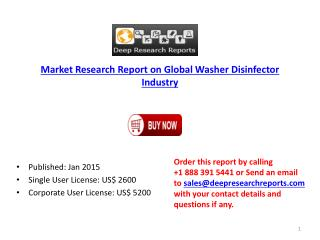 Market Research Report on Global Washer Disinfector Industry