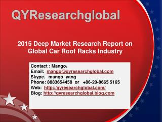 2015 Deep Market Research Report on Global Car Roof Racks In