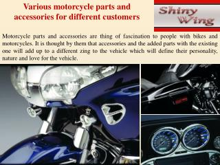 Various motorcycle parts and accessories for different custo
