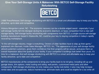 Give Your Self-Storage Units A Makeover With BETCO