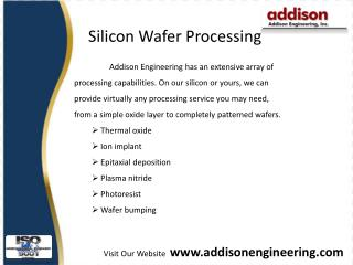 Silicon wafers, ceramic package - www.addisonengineering.com